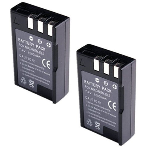 ValuePack (2 Count): Extended Performance Replacement Battery for Specific Digital Camera and Camcorder Models / Compatible with Nikon EN-EL9, EN-EL9a, EN-EL9e, D3000, D40, D40x, D5000, D60