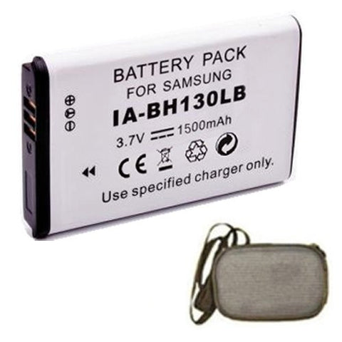 Extended Life Replacement Battery for Specific Digital Camera and Camcorder Models / Compatible with Samsung IA-BH130LB, IABH130LB, SMX-C10, SMX-C20, SMX-K40, SMXC10, SMXC20, SMXK40 - Includes Hard Case Camera Bag