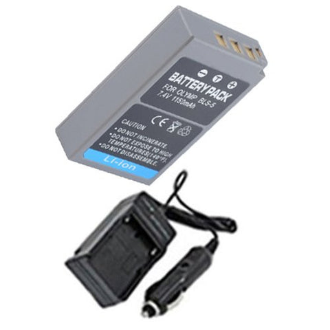 Extended Performance Replacement Battery PLUS Mini Battery Travel Charger for Specific Digital Camera and Camcorder Models / Compatible with Olympus PS-BLS5, BLS-5, E-P3, E-PL3, E-PM1 Charges with Intelligent Charge Technology - Includes Car Adapter