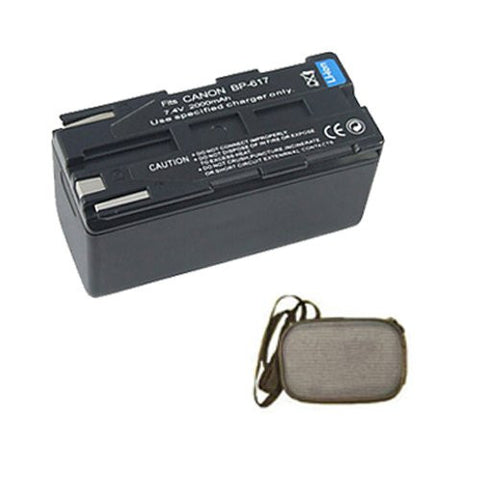 Extended Life Replacement Battery for Specific Digital Camera and Camcorder Models / Compatible with Canon BP-608, BP-608A, BP-617, DM-MV20i, DM-PV1, DV-MV20 - Includes Hard Case Camera Bag