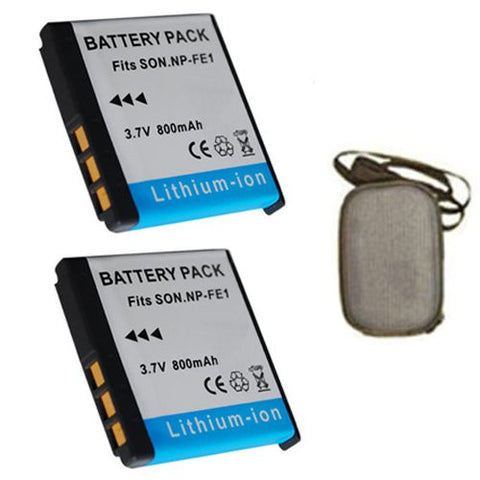 ValuePack (2 Count): Extended Life Replacement Battery for Specific Digital Camera and Camcorder Models / Compatible with Sony NP-FE1, NPFE1, Cyber-shot: DSC-T7, DSC-T7B, DSC-T7S - Includes Hard Case Camera Bag
