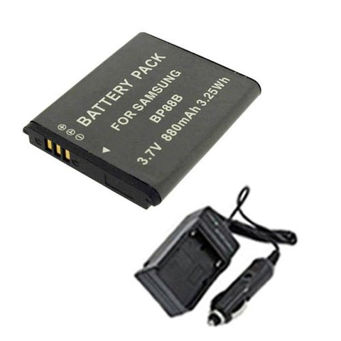 Extended Performance Replacement Battery PLUS Mini Battery Travel Charger for Specific Digital Camera and Camcorder Models / Compatible with Samsung BP-88B, MV900F Charges with Intelligent Charge Technology - Includes Car Adapter