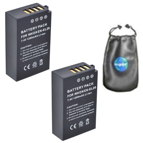 ValuePack (2 Count): Digital Replacement Battery for Specific Digital Camera and Camcorder Models / Compatible with Nikon EN-EL20, ENEL20, 1 AW1, Nikon 1 J1, Nikon 1 J2 - Includes Leatherette Camera / Lens Accessories Pouch