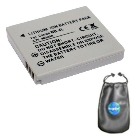 Digital Replacement Battery for Specific Digital Camera and Camcorder Models / Compatible with Canon NB-4L, Digital 50/40, Digital IXUS 30, Digital IXUS 40, Power Shot SD200, Power Shot SD300 - Includes Leatherette Camera / Lens Accessories Pouch