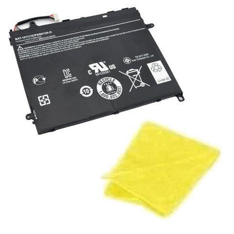 Amsahr® Replacement Battery for Acer Iconia Tab A510, BAT-1011, BAT-1011, 1ICP5-80-120-2 (4 Cell, 36WH) - Includes Cleaning Cloth