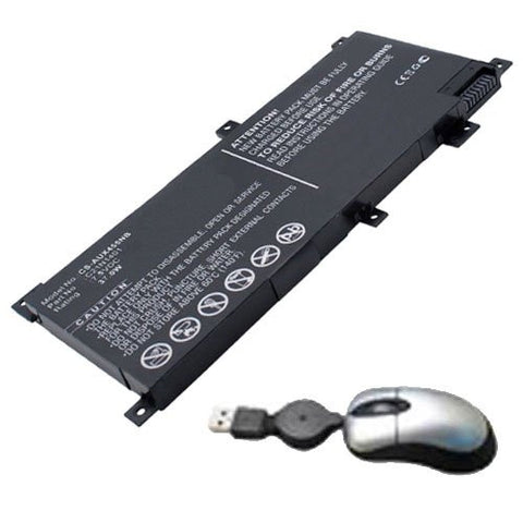 Amsahr® Replacement Battery for ASUS X455LA, X455LA-4030U, X455LA-N4030U, X455LA-WX002D, X455LA-WX058D (7.5V, 37WH) - Includes Mini Optical Mouse