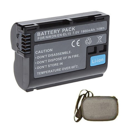 Extended Life Replacement Battery for Specific Digital Camera and Camcorder Models / Compatible with Nikon EN-EL15, ENEL15, 1 V1, D600, D7000, D7100, D800, D800E - Includes Hard Case Camera Bag