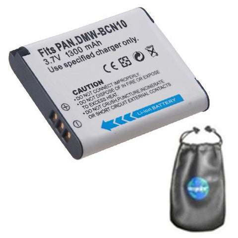 Digital Replacement Battery for Specific Digital Camera and Camcorder Models / Compatible with Panasonic DMW-BCN10, DMW-BCN10E, Lumix DMC-LF1 - Includes Leatherette Camera / Lens Accessories Pouch