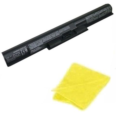 Amsahr® Replacement Battery for Sony VAIO FIT 14E, Vaio Fit 15E, SVF1521A2E, SVF15217SC, SVF14215SC, SVF15218SC, SVF15216SC, VGP-BPS35A (4 Cell, 2200 mAh) - Includes Cleaning Cloth