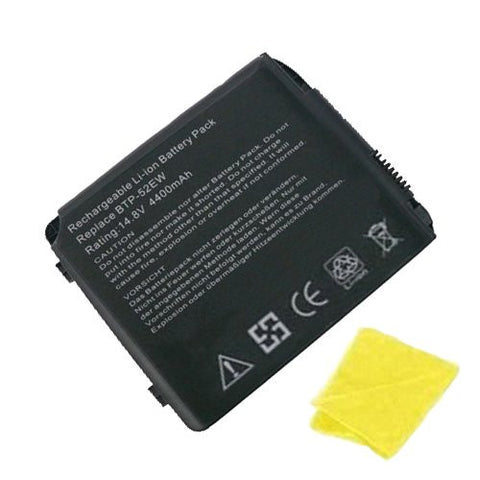 Amsahr® Replacement Battery for Fujitsu BTP-52EW, 40008236, BTP-89BM, 90.NBI61.001, 805N00005, BTP-90BM, 90.NBI61.011, 1547, 1555, 1556, 1557 (8 Cell, 4400 mAh) - Includes Cleaning Cloth