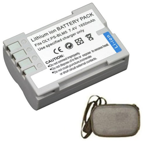 Extended Life Replacement Battery for Specific Digital Camera and Camcorder Models / Compatible with Olympus BLM-5, DSLR E-3, E-30, E5 - Includes Hard Case Camera Bag