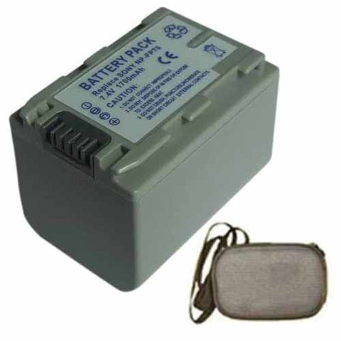 Extended Life Replacement Battery for Specific Digital Camera and Camcorder Models / Compatible with Sony NPFP70, NP-FP70, DVD105, DVD202, DVD203, DVD205, DVD403, DVD404, DVD405, DVD505 - Includes Hard Case Camera Bag