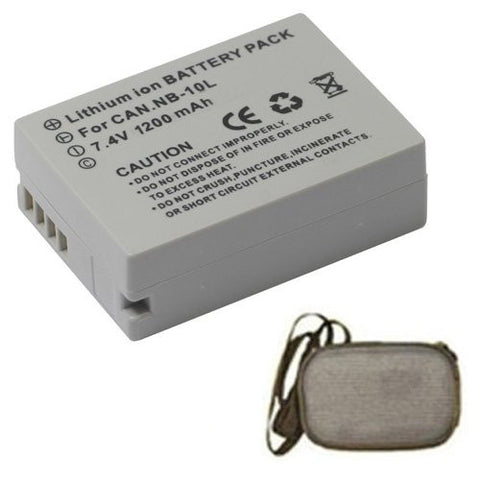 Extended Life Replacement Battery for Specific Digital Camera and Camcorder Models / Compatible with Canon NB-10L, PowerShot G15, G1X, SX50HS, SX40HS - Includes Hard Case Camera Bag