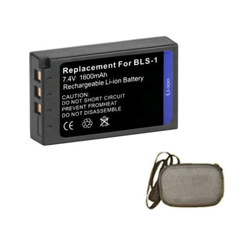 Extended Life Replacement Battery for Specific Digital Camera and Camcorder Models / Compatible with Olympus BLS-1, E-450, Evolt E-400, Evolt E-410, Evolt E-420, Evolt E-450, Evolt E-620, E-P1, E-P2, E-P3, E-PL1, E-PL3 - Includes Hard Case Camera Bag