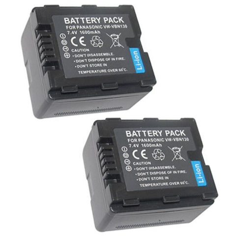 ValuePack (2 Count): Extended Performance Replacement Battery for Specific Digital Camera and Camcorder Models / Compatible with Panasonic VW-VBN130, VW-VBN260, HDC-HS900, HDC-SD800, HDC-TM900, HDC-SD900