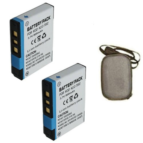 ValuePack (2 Count): Extended Life Replacement Battery for Specific Digital Camera and Camcorder Models / Compatible with Kodak KLIC-7002, EasyShare V530, EasyShare V530 Zoom, EasyShare V603, EasyShare V603 Zoom - Includes Hard Case Camera Bag