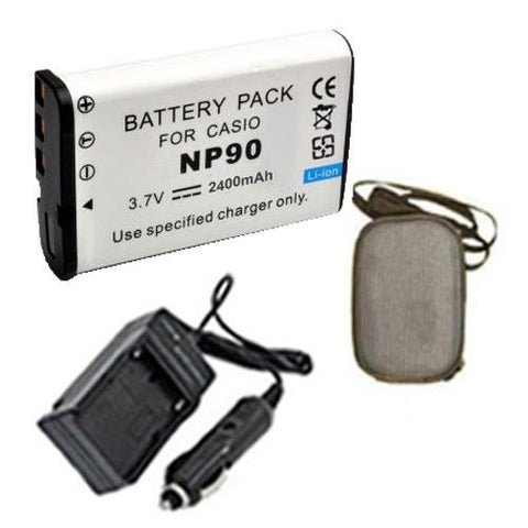 Extended Life Replacement Battery PLUS Mini Battery Travel Charger for Specific Digital Camera and Camcorder Models / Compatible with Casio NP-90, Exilim EX-H10 Charges with Intelligent Charge Technology - Includes Car Adapter and Hard Case Camera Bag