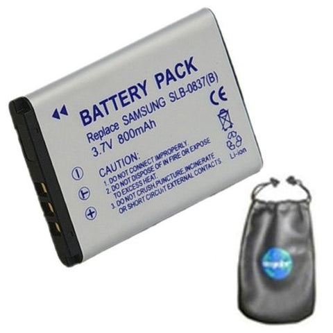 Digital Replacement Battery for Specific Digital Camera and Camcorder Models / Compatible with Samsung SLB-0837B, SLB0837B, Digimax L70, Digimax L70B, L83T, NV10, VLUU L201, NV15, NV20, VLUU NV10 - Includes Leatherette Camera / Lens Accessories Pouch