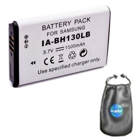 Digital Replacement Battery for Specific Digital Camera and Camcorder Models / Compatible with Samsung IA-BH130LB, IABH130LB, SMX-C10, SMX-C20, SMX-K40, SMXC10, SMXC20, SMXK40 - Includes Leatherette Camera / Lens Accessories Pouch