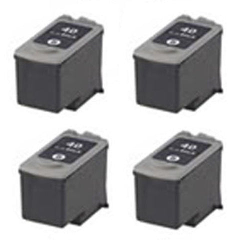 Canon PG-40, JX200, JX210P Remanufactured Replacement Ink Cartridges - Includes FOUR BLACK Cartridges