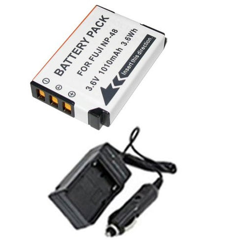 Extended Performance Replacement Battery PLUS Mini Battery Travel Charger for Specific Digital Camera and Camcorder Models / Compatible with Fujifilm NP-48, NP48, XQ1 Charges with Intelligent Charge Technology - Includes Car Adapter
