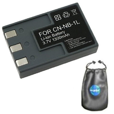 Digital Replacement Battery for Specific Digital Camera and Camcorder Models / Compatible with Canon NB-1L, NB1L, NB-1LH, NB1LH, PowerShot S100, S110, S200, S230, S300, S330, S400, S410, S500 - Includes Leatherette Camera / Lens Accessories Pouch