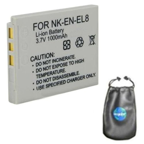 Digital Replacement Battery for Specific Digital Camera and Camcorder Models / Compatible with Nikon EN-EL8, ENEL8, Coolpix P1, P2, S1, S2, S3, S5, S6, S7c, S9, S50, S50c, S51, S51c, S52, S52c - Includes Leatherette Camera / Lens Accessories Pouch