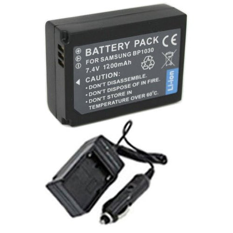 Extended Performance Replacement Battery PLUS Mini Battery Travel Charger for Specific Digital Camera and Camcorder Models / Compatible with Samsung BP-1030, NX1100, NX1000, NX200, NX210 Charges with Intelligent Charge Technology - Includes Car Adapter