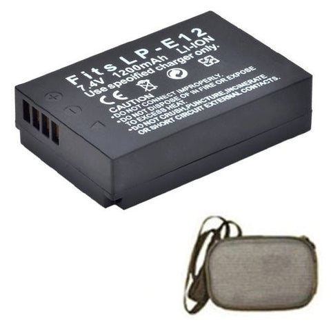 Extended Life Replacement Battery for Specific Digital Camera and Camcorder Models / Compatible with Canon LP-E12, LPE12, EOS-M - Includes Hard Case Camera Bag