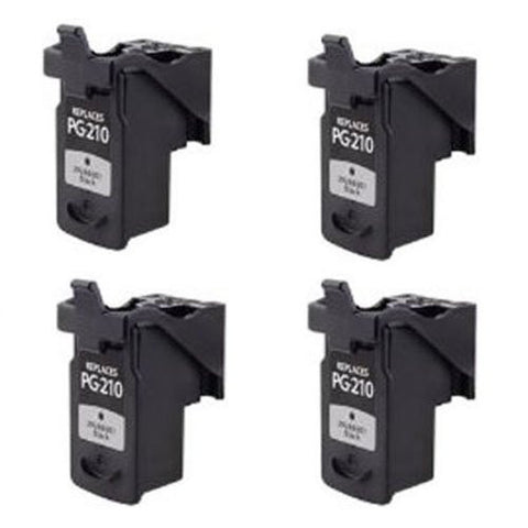 Canon PG-210XL, MP240, MP250, MP260 Remanufactured Replacement Ink Cartridges - Includes FOUR BLACK Cartridges