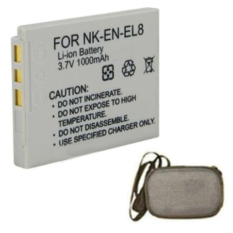 Extended Life Replacement Battery for Specific Digital Camera and Camcorder Models / Compatible with Nikon EN-EL8, ENEL8, Coolpix P1, P2, S1, S2, S3, S5, S6, S7c, S9, S50, S50c, S51, S51c, S52, S52c - Includes Hard Case Camera Bag