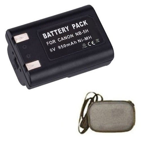Extended Life Replacement Battery for Specific Digital Camera and Camcorder Models / Compatible with Canon NB-5H, NB5H, Powershot A5, Powershot A5 Zoom, Powershot A50, Powershot A520, Powershot S10, Powershot S20 - Includes Hard Case Camera Bag