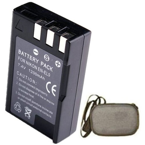Extended Life Replacement Battery for Specific Digital Camera and Camcorder Models / Compatible with Nikon EN-EL9, EN-EL9a, EN-EL9e, D3000, D40, D40x, D5000, D60 - Includes Hard Case Camera Bag