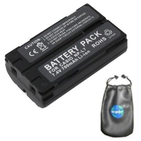 Digital Replacement Battery for Specific Digital Camera and Camcorder Models / Compatible with Casio NP-L7, QV-3EX, QV-EX3, QV3000-ProPack, XV-3 - Includes Leatherette Camera / Lens Accessories Pouch