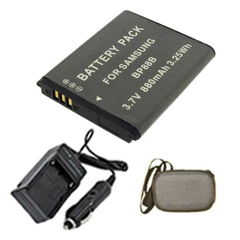 Extended Life Replacement Battery PLUS Mini Battery Travel Charger for Specific Digital Camera and Camcorder Models / Compatible with Samsung BP-88B, MV900F Charges with Intelligent Charge Technology - Includes Car Adapter and Hard Case Camera Bag