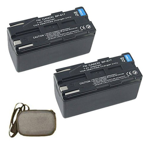 ValuePack (2 Count): Extended Life Replacement Battery for Specific Digital Camera and Camcorder Models / Compatible with Canon BP-608, BP-608A, BP-617, DM-MV20i, DM-PV1, DV-MV20 - Includes Hard Case Camera Bag