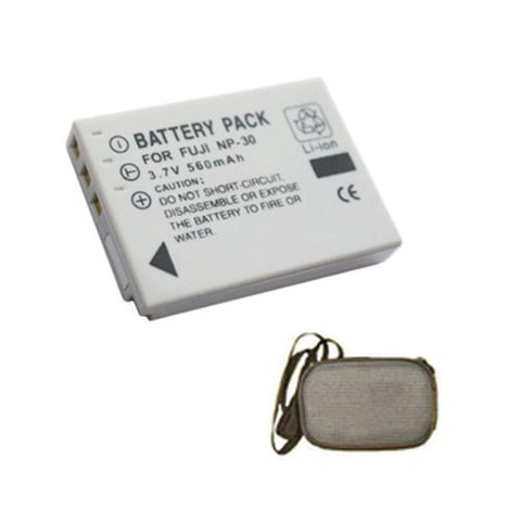 Extended Life Replacement Battery for Specific Digital Camera and Camcorder Models / Compatible with FujiFilm NP-30, NP30, FinePix F440, FinePix F440 zoom, FinePix F450, FinePix F450 zoom - Includes Hard Case Camera Bag