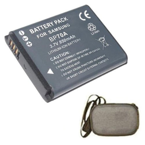 Extended Life Replacement Battery for Specific Digital Camera and Camcorder Models / Compatible with Samsung BP-70A, BP70A, AQ100, ES65, ES70, ES73, ES75, PL100, PL200, PL80, PL90, ST100, ST60, ST70, ST80, WP10 - Includes Hard Case Camera Bag