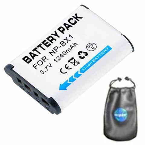 Digital Replacement Battery for Specific Digital Camera and Camcorder Models / Compatible with Sony NP-BX1, NPBX1, NP BX1, HDR-AS10, HDR-AS15, DSC-HX50V, DSC-RX1, DSC-RX100 - Includes Leatherette Camera / Lens Accessories Pouch