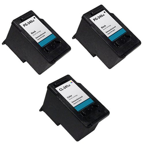 Canon PG-240XL, CL-241XL Remanufactured Replacement Ink Cartridges - Includes Set of 3: 2 Black and 1 Color Ink Cartridges