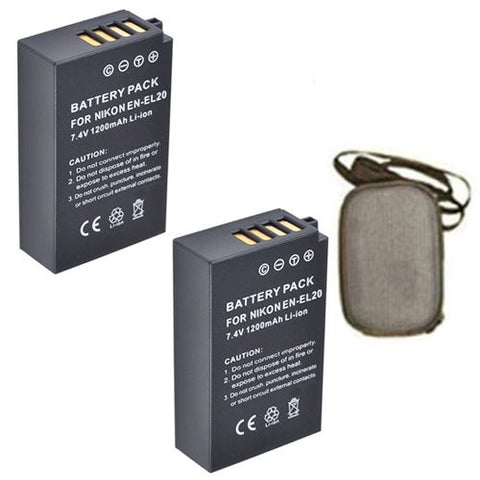 ValuePack (2 Count): Extended Life Replacement Battery for Specific Digital Camera and Camcorder Models / Compatible with Nikon EN-EL20, ENEL20, 1 AW1, Nikon 1 J1, Nikon 1 J2 - Includes Hard Case Camera Bag