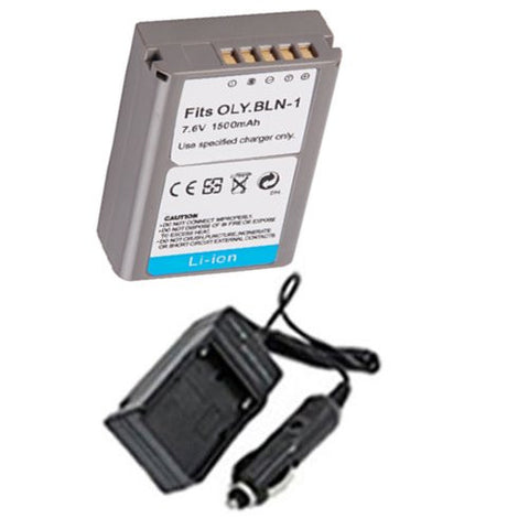 Extended Performance Replacement Battery PLUS Mini Battery Travel Charger for Specific Digital Camera and Camcorder Models / Compatible with Olympus PS-BLN1, OM-D, E-M5 Charges with Intelligent Charge Technology - Includes Car Adapter