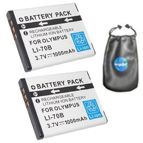 ValuePack (2 Count): Digital Replacement Battery for Specific Digital Camera and Camcorder Models / Compatible with Olympus Li-70B, FE-4020, FE-4040, X-940 - Includes Leatherette Camera / Lens Accessories Pouch