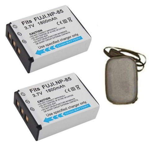 ValuePack (2 Count): Extended Life Replacement Battery for Specific Digital Camera and Camcorder Models / Compatible with Fujifilm NP-85, FinePix SL240, SL260, SL280, SL300, SL305 - Includes Hard Case Camera Bag