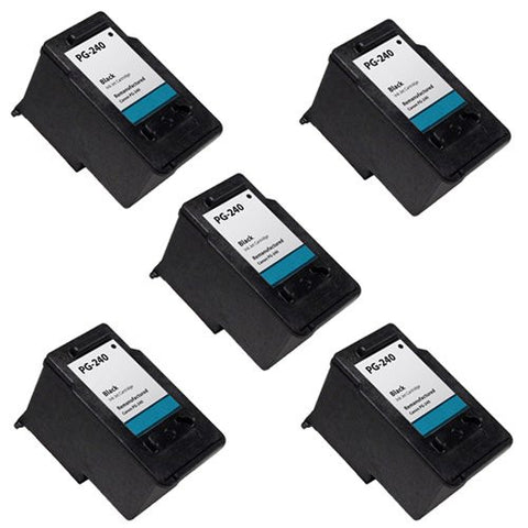 Canon PG-240, PIXMA MP2120, 2220 Remanufactured Replacement Ink Cartridges - Includes FIVE BLACK Cartridges