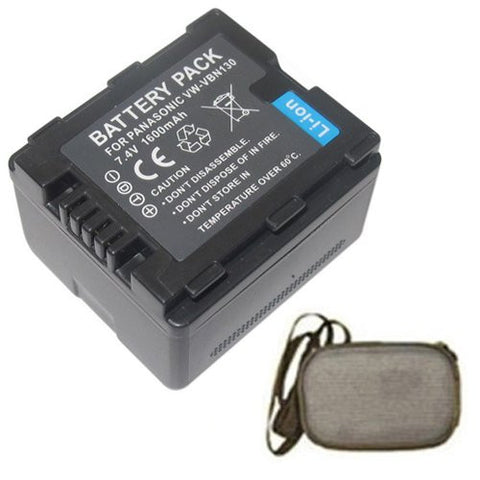 Extended Life Replacement Battery for Specific Digital Camera and Camcorder Models / Compatible with Panasonic VW-VBN130, VW-VBN260, HDC-HS900, HDC-SD800, HDC-TM900, HDC-SD900 - Includes Hard Case Camera Bag