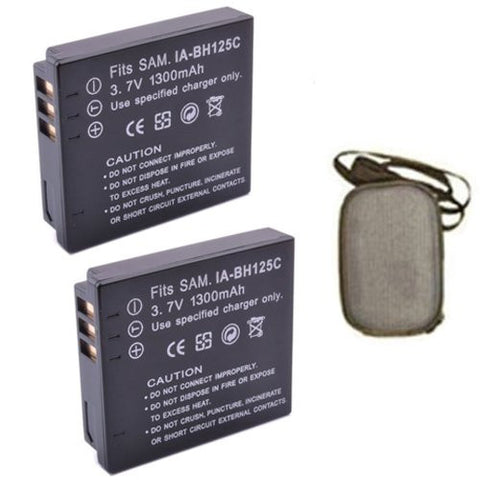 ValuePack (2 Count): Extended Life Replacement Battery for Specific Digital Camera and Camcorder Models / Compatible with Samsung IA-BH125C, IABH125C, HMX-R10, HMXR10 - Includes Hard Case Camera Bag