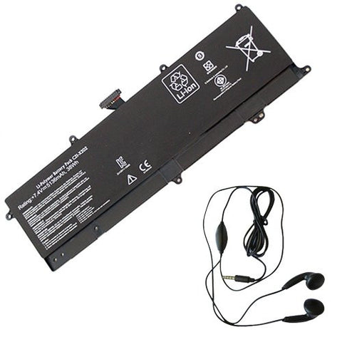 Amsahr® Extended Life Replacement Battery for ASUS S200E, X202E, X201E, C21-X202 (2 Cell, 5136 mAh) - Includes Stereo Earphone