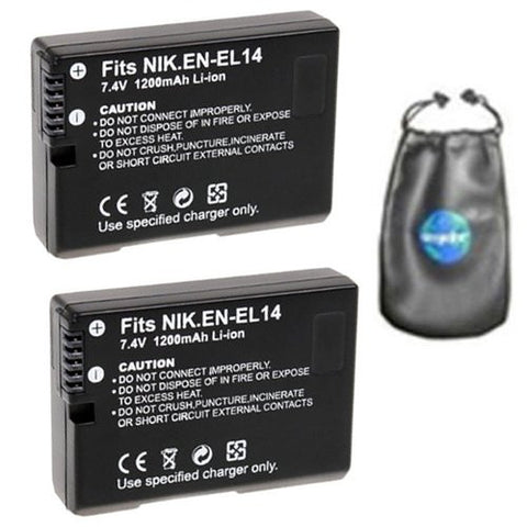 ValuePack (2 Count): Digital Replacement Battery for Specific Digital Camera and Camcorder Models / Compatible with Nikon EN-EL14, ENEL14, DSLR D3100, D3200, D5100, COOLPIX: P7000, P7100, P7700 - Includes Leatherette Camera / Lens Accessories Pouch