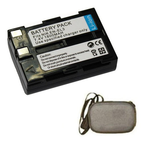 Extended Life Replacement Battery for Specific Digital Camera and Camcorder Models / Compatible with Nikon EN-EL3, EN-EL3a, D100, Nikon D50, Nikon D70, Nikon D70s - Includes Hard Case Camera Bag